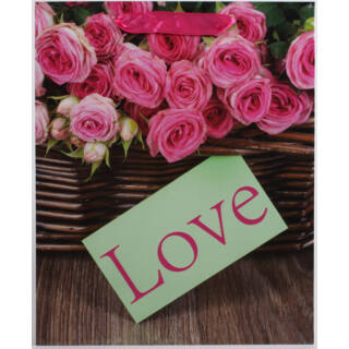 Ajándék tasak rsz.rózsa+LOVE