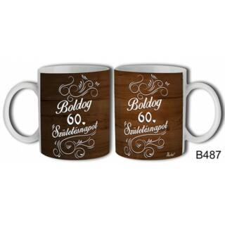 Bögre -Fa mintás Boldog 60.szülinapot születésnapi ajándék