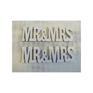 MR & MRS felirat fehér 3x10,5cm 2db/cs