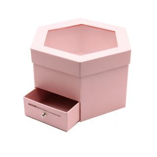 Papírdoboz fiókos rózsaszín 25x22x15cm