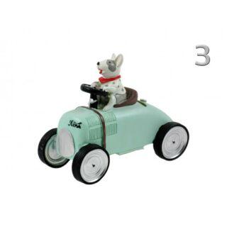 Persely kutya+ türkiz autó 14x17cm