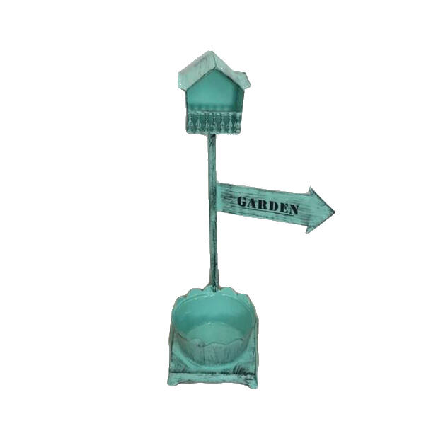 Bádog kaspó+madárlak zöld 20x64cm