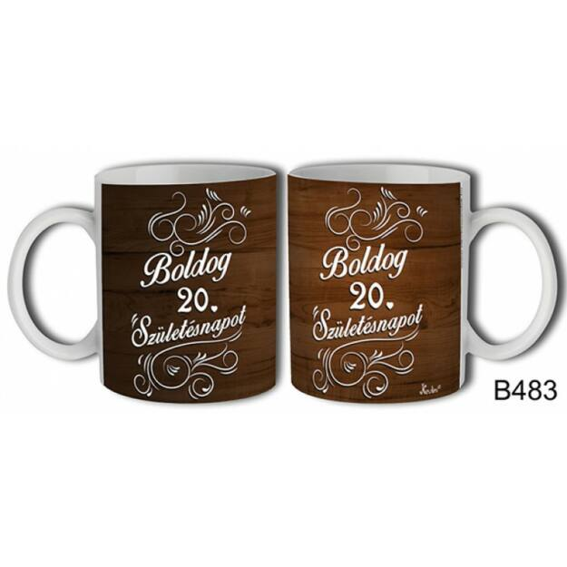 Bögre -Fa mintás Boldog 20.szülinapot születésnapi ajándék
