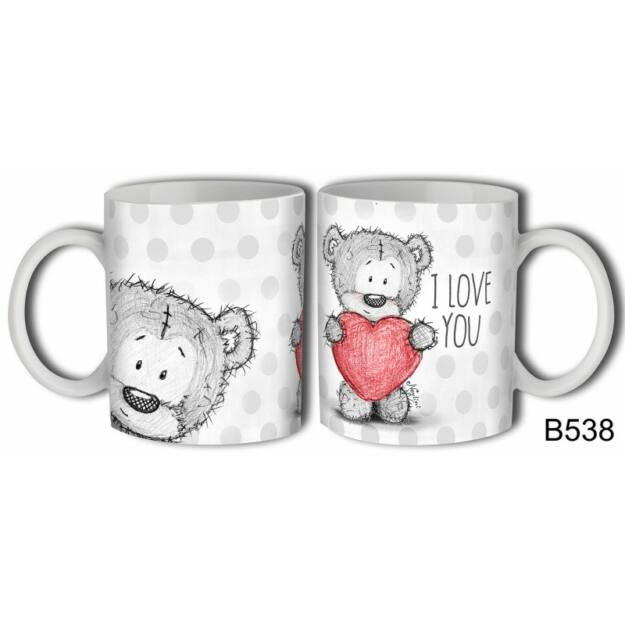 Bögre I Love You macis szerelmes ajándék valentin napra