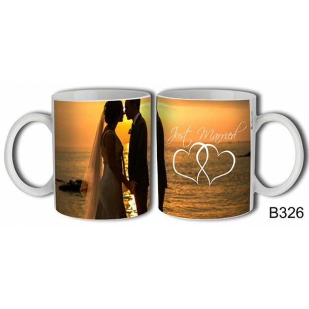 Bögre just married naplementés esküvői ajándék