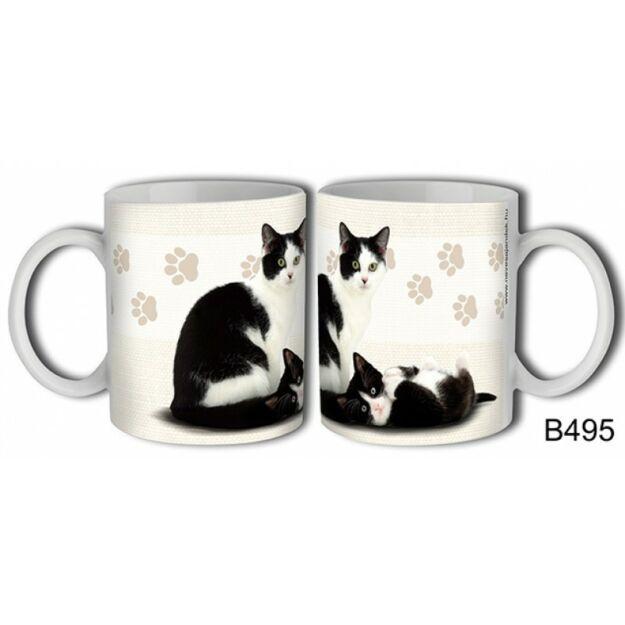 Bögre macskás fekete-fehér macska, macskás ajándék