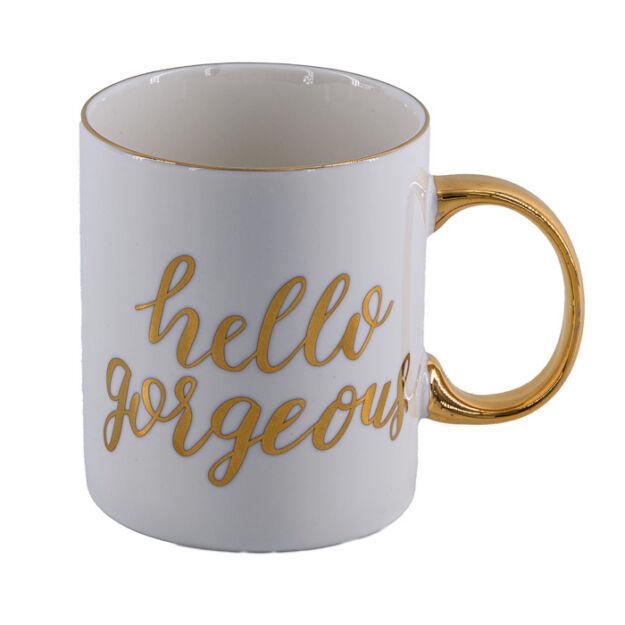 Hello Gorgeous Bögre porcelán 8x9,5 cm 330ml fényes arany