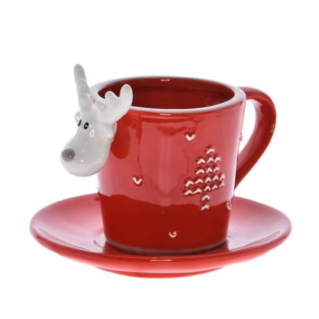 Csésze szarvasos,alátéttel piros