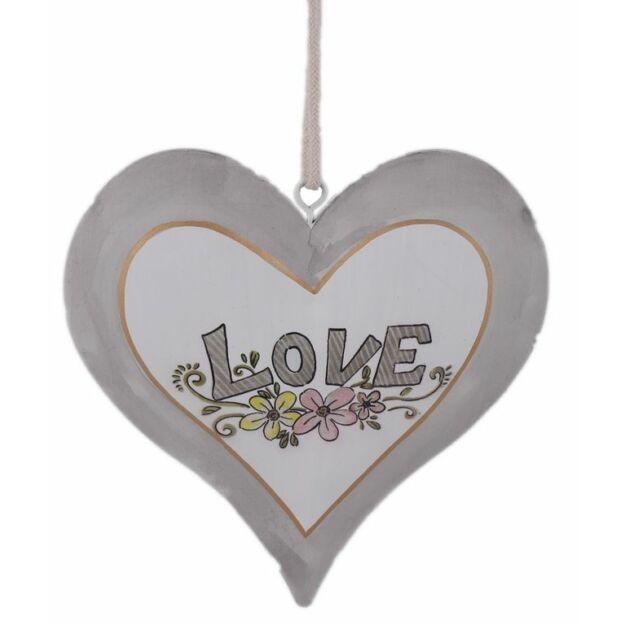 Fém akasztós szív szürke/fehér LOVE 15cm