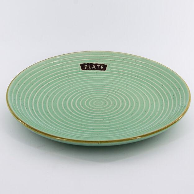 Kerámia tányér kerek zöld 25 cm