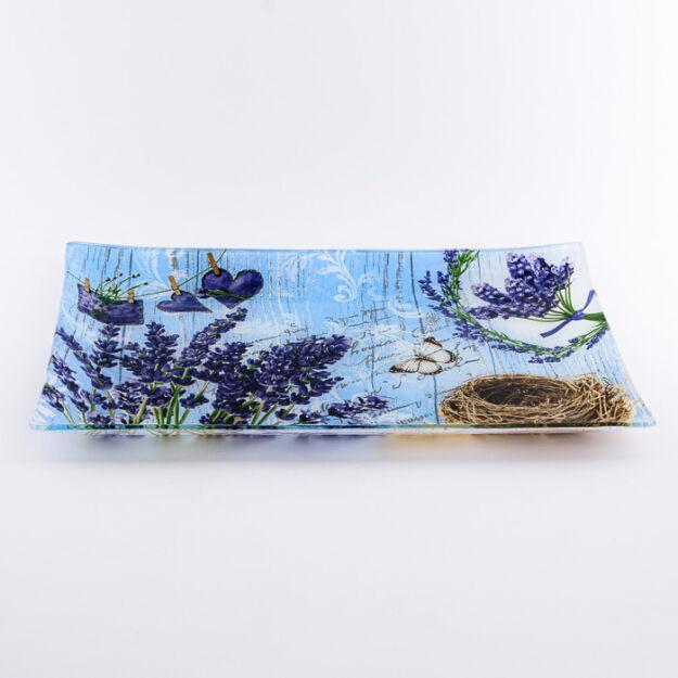 Kínáló tál téglalap levendulás 30*20cm, üveg