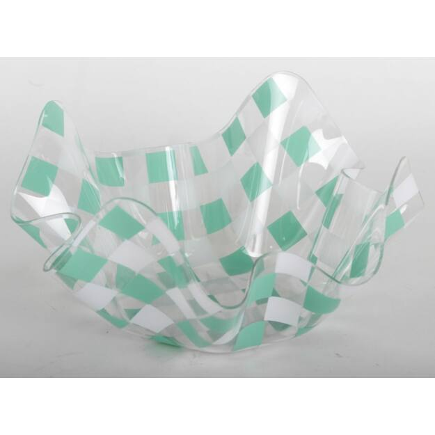 Műanyag tál hullámos zöld kockás