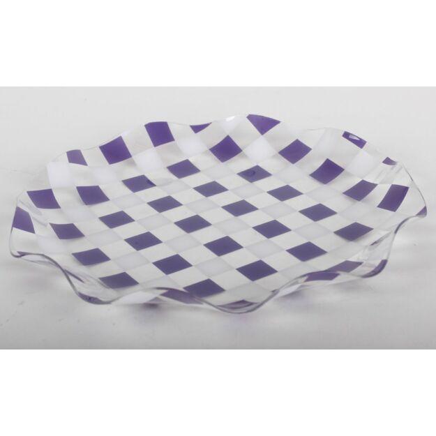 Műanyag tál kerek lila kockás