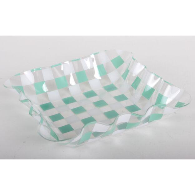 Műanyag tál zöld kockás