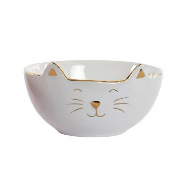 Porcelán tál macska aranyozott 12x12cm fehér