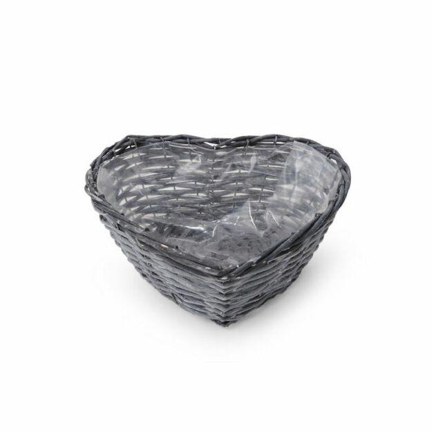 Szív alakú hasított vessző tál szürke 27x27x10cm