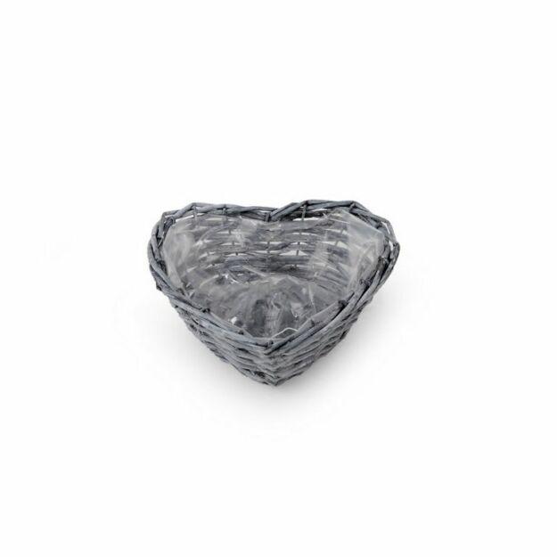 Szív alakú hastott vessző tál szürke 18x18x7cm