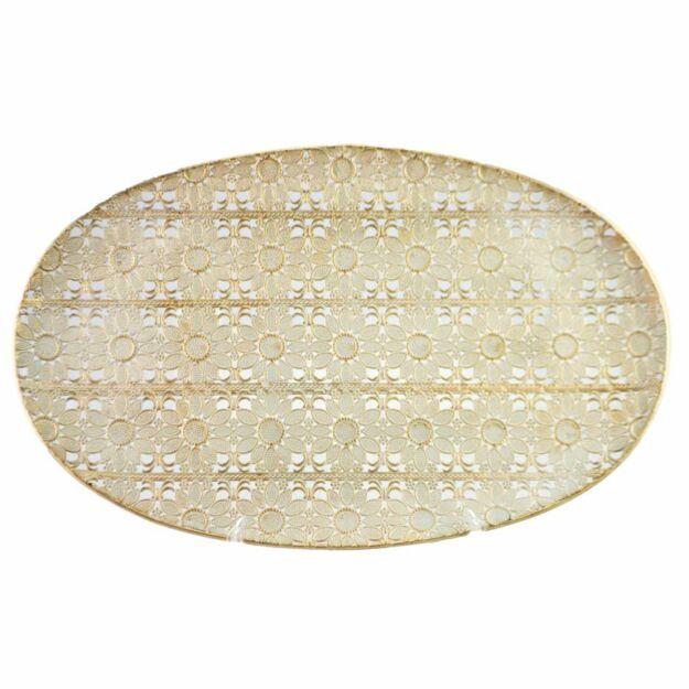 Tálca antikolt fém ovális arany színű virágmintás 43x2,5cm