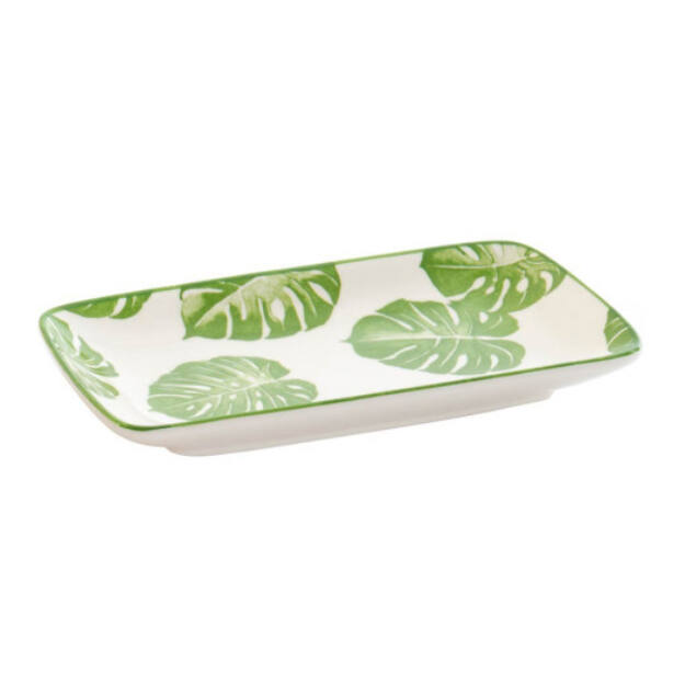 Tálca porcelán leveles 23x12,5x2,5cm zöld