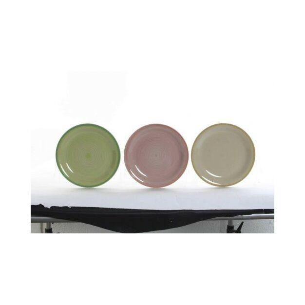 Tányér cserép 26x26x3,3cm pasztel színű