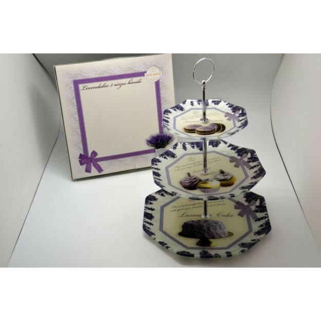 Üveg 3 részes kínáló 25,4cm ,20cm,15cm Violette
