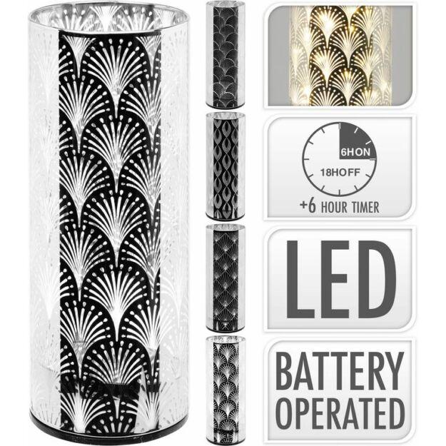 Üveg dekoráció 16 LEdes 8x8x20cm ezüst szín ,tükrös felület