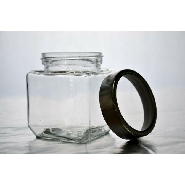 Üveg tároló 5dl szögletes csavaros átlátszó tetővel  8,2x10,5cm