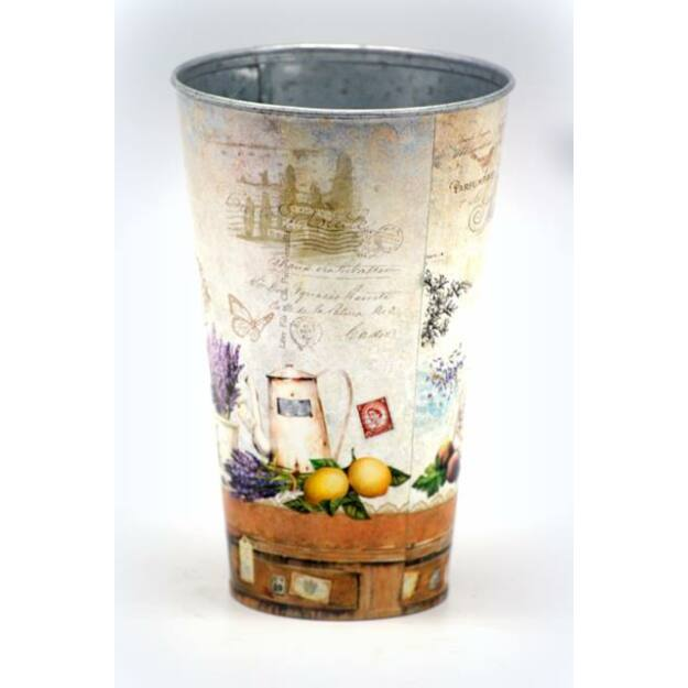 Váza levendulás bádog 12,5x19,5cm többszínű