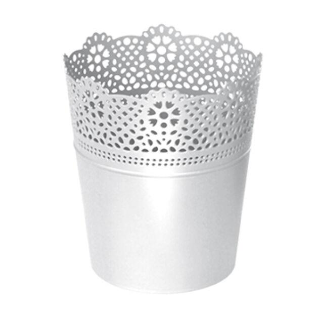 Virágcserép 112 mm Fehér LACE Prosperplast
