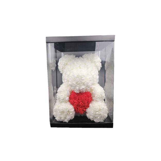 Rózsamaci 36cm díszdobozban - fehér/piros szív