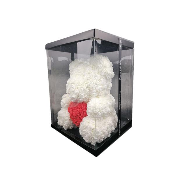 Virágmaci fehér piros szívvel 36cm