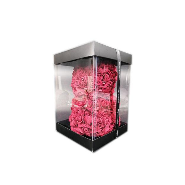 Virágmedve 24cm díszdobozban - Bordó