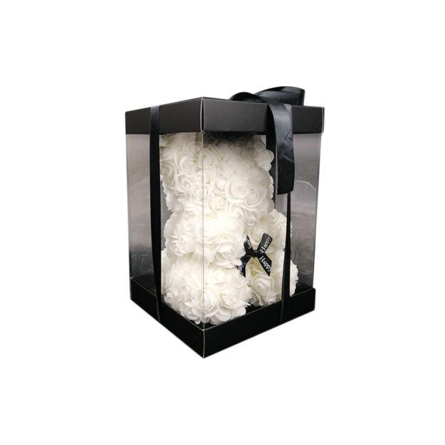 Virágmedve 24cm díszdobozban - Fehér