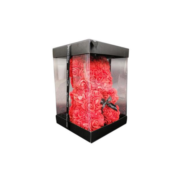 Virágmedve 24cm díszdobozban - Piros